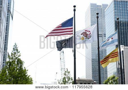 National Flags Honoring Veterans