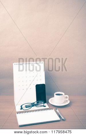 Coffee,phone,eyeglasses,notepad And Canlendar