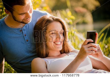 Couple on date in nature