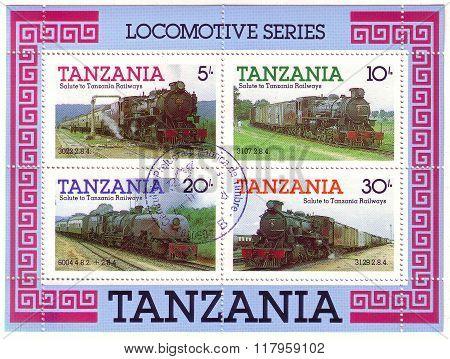 Tanzania - Circa 1991: A Stamps Printed By Tanzania Shows An Old Locomotives, Circa 1991.