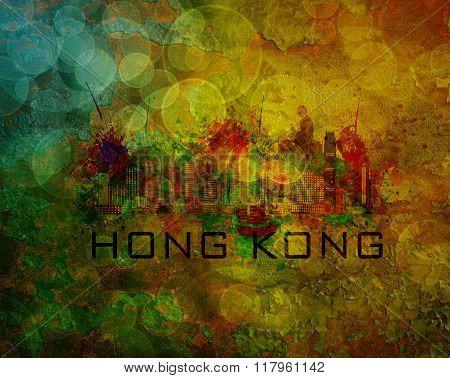 Hong Kong City Skyline On Grunge Background Illustration