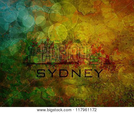 Sydney City Skyline On Grunge Background Illustration
