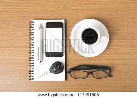 Coffee,phone,notepad,eyeglasses And Car Key