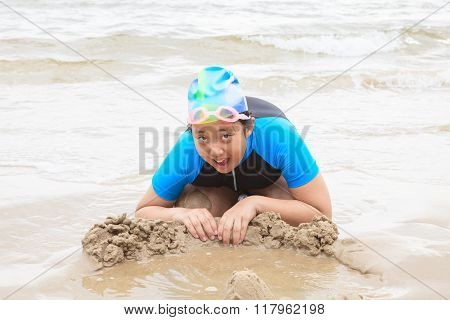 thai girl wearing swiming suit playing on sea beach happiness emotion