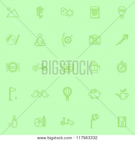 Slow Life Activity Line Icons On Green Background