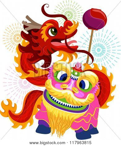 Illustration of Lion and Dragon Dance Costumes for Chinese New Year
