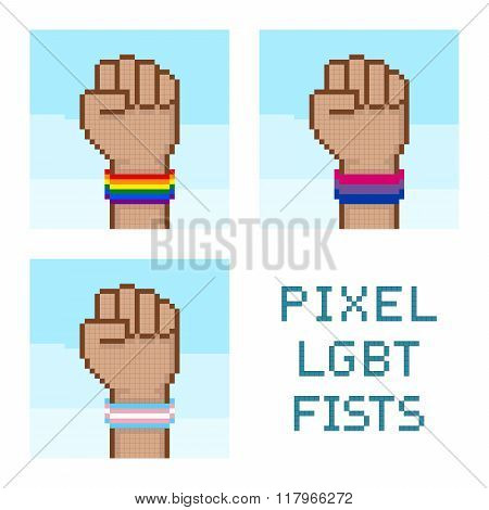 Pixelated Fists With Lgbt Wristbands Vector