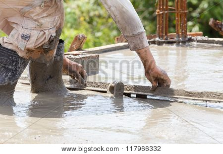 Plasterer Concrete Worker At Floor Work