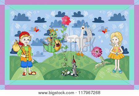 Childish Card With Fairyland. Cute Vector Illustration.