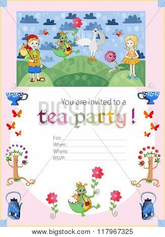 Childish Tea Party Invitation With Fairyland. Cute Vector Template.