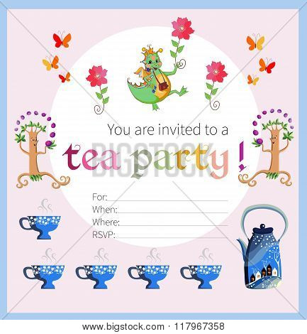 Tea Party Invitation For Kids. Card With Happy Dragon, Flowers And Butterflies, Teapot And Cups.