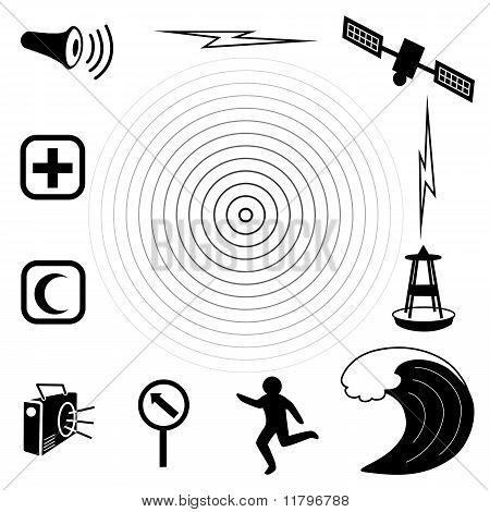 Tsunami Icons, White Background