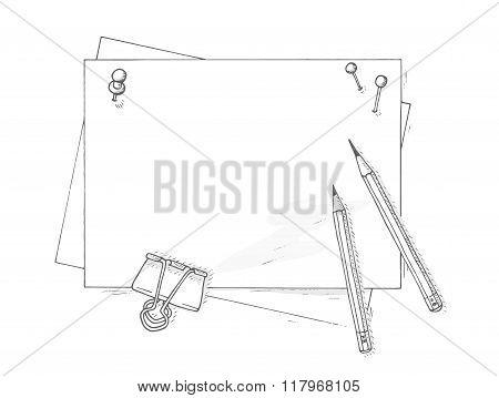 Paper sheets mockup