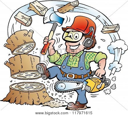 Vector Cartoon Illustration Of A Happy Working Lumberjack Or Woodcutter Who Chrop Wood