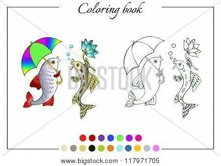 Coloring Book With Two Talking Fish - Fish With Umbrella And Fish With Flower.