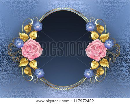 Oval banner with pink roses gold leaves and violets blue on blue brocade background. poster