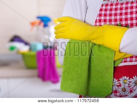 Cleaning Lady With Crossed Arms