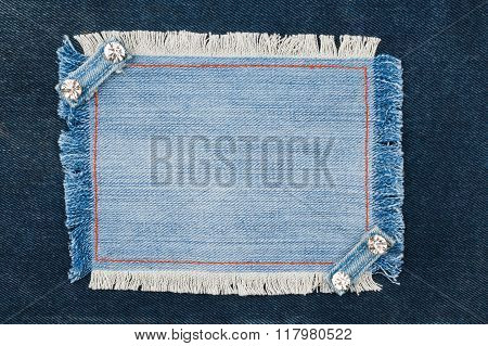 Frame With Two Straps Jeans And Rhinestones, Lies On The Dark Denim