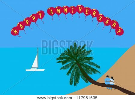 Couple Sitting On A Coconut Palm Tree With Happy Anniversary Balloons