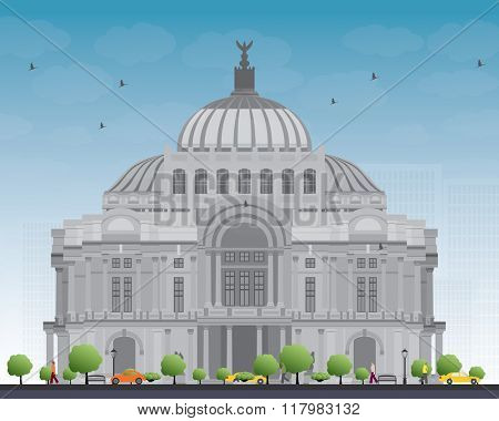 The Fine Arts Palace/Palacio de Bellas Artes in Mexico City, Mexico. Vector illustration. Business Travel and Tourism Concept with Historic Building. Image for Presentation Banner Placard and Web Site poster
