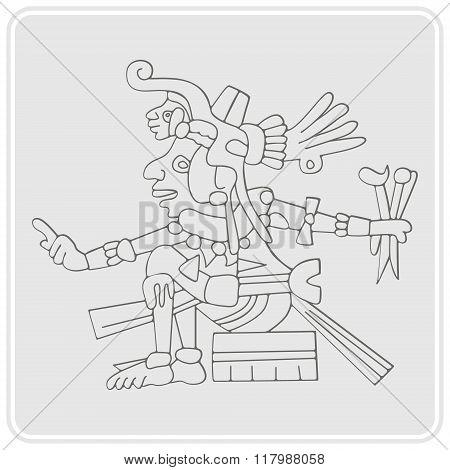 monochrome icon with symbols from Aztec codices