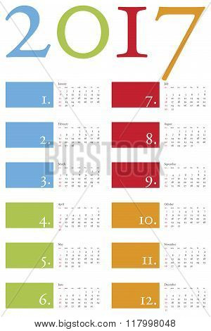 Colorful And Elegant Calendar For Year 2017