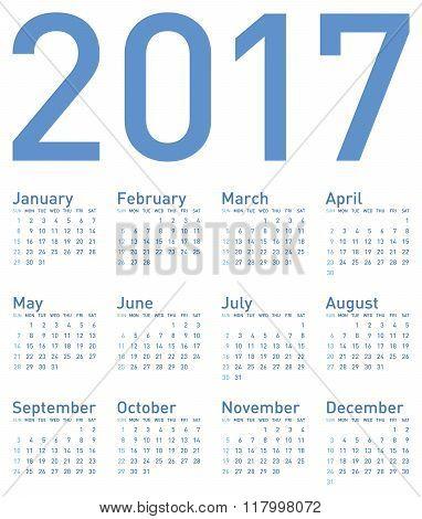 Simple Blue Calendar For Year 2017