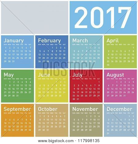 Colorful Calendar For Year 2017