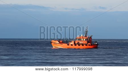 Orange Pilot Class Ship In The Sea