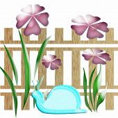 spring garden with fence and snail on white poster