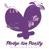 International Women's Day Greeting card or poster with the text pledge for parity poster
