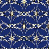 Religion seamless pattern. Laurel wreath, lace view texture with cross. Ceremonial, funeral background. Swirl stylized ornament. Blue, yellow colored. Vector poster