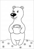 Teddy-bear with honey pot standing on flower meadow, contours poster