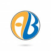 Creative alphabet A and B letter logo.AB company group linked letter logo.Vector illustration poster