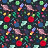 Cosmos and UFO concept in seamless pattern for wrap print fabric game web children's items. Spaceship satellites planet and alien extraterrestrial stars and universe. Vector poster