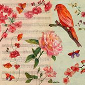 A vintage style collage card with a distressed background, a bright watercolour bird and watercolour roses, with sheet music in the background; a postcard design poster