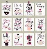 Collection of 12 cute good morning card templates. Can be use for valentine's day, wedding, marriage, save the date, baby shower, bridal, birthday. Stylish simple design. Vector. Poster template poster