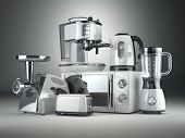 Kitchen appliances. Blender, toaster, coffee machine, meat ginder, microwave oven and kettle. 3d poster