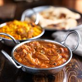 balti dish with butter chicken indian curry shot with selective focus poster