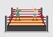 Two cartoon professional wrestlers one dressed in fancy costume standing in wrestling ring stage. Vector illustration isolated on plain grey background. poster