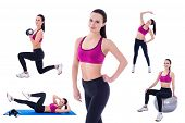 slim woman in sports wear doing fitness exercises isolated on white background poster