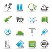 Pregnancy and contraception Icons - vector icon set poster