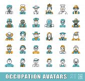 Collection of avatar icons related to professional occupation. Flat line set of occupation icons. Vector illustration. poster
