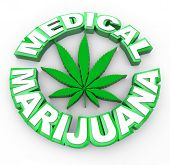 The words medical marijuana surrounding a cannabis leaf icon poster