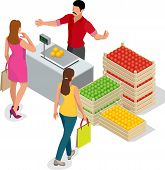 Beautiful woman shopping fresh fruits. fruit seller in a farmer market. Stand for selling fruit. Crate of apples, pears. Flat 3d isometric vector illustration poster