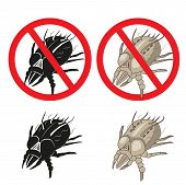 Dust Mites Parasite Warning Sign. Close up of a House Mite. Vector Set. Dust Mites Pictures. Dust Mites Allergy Hives. Dust Mites on Skin. Dust Mites Killer. Dust Mites Cleaner. Dust Mites Removal. poster