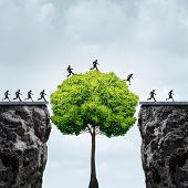 Business growth opportunity concept as a group of business people taking advantage of a tall tree grown in time to create a bridge to cross over and link two seperate cliffs as a motivation metaphor for financial patience and opportunism poster