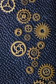 steampunk mechanical cogs gears wheels on leathern background poster