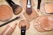 Various makeup products to even out skin tone and complexion on aged paper. Foundation loose and compact powders concealer pencil corrector with brushes and cosmetic sponges. Retro style processing poster