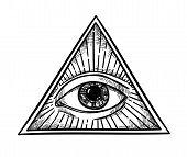 Hand drawn vector illustration - All seeing eye pyramid symbol. Freemason and spiritual. Vintage poster
